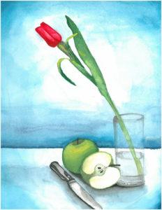 Tulip&GreenApple_watercolor